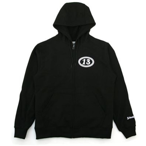 [SCHOTT N.Y.C.] 'WINGS OF WHEEL' FULL ZIP UP HOODED SWEAT - BLACK