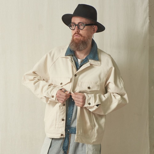[스미스아머] SMITH ARMOR - SA OVERFIT TWILL TRUCKER JACKET / LIGHT IVORY