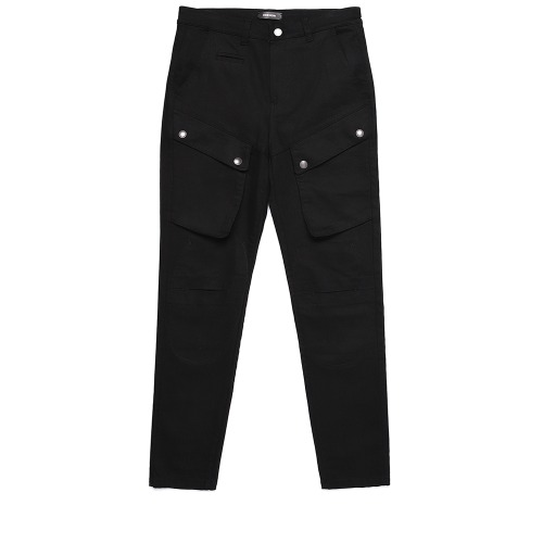 [디한웍스 라이더팬츠] DEEHONWORKS - QUEUE (Leather panel Cut cargo pants) Black