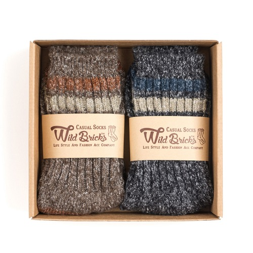 [와일드브릭스] WILD BRICKS - AP MELANGE SOCKS SET (brown/charcoal)