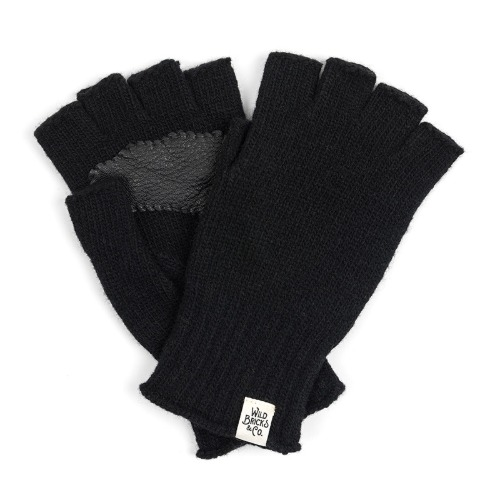 [와일드브릭스] WILD BRICKS - LEATHER PALM FINGERLESS GLOVES (black)