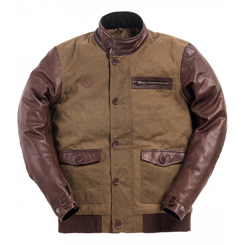 Ride & Sons Varsity Leather / Waxed Cotton Jacket - Brown