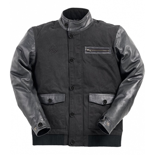 Ride & Sons Varsity Leather / Waxed Cotton Jacket - Black