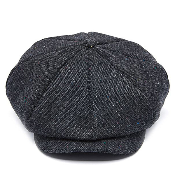 Millionairehats - wool tweed newsboy cap - dark gray mix