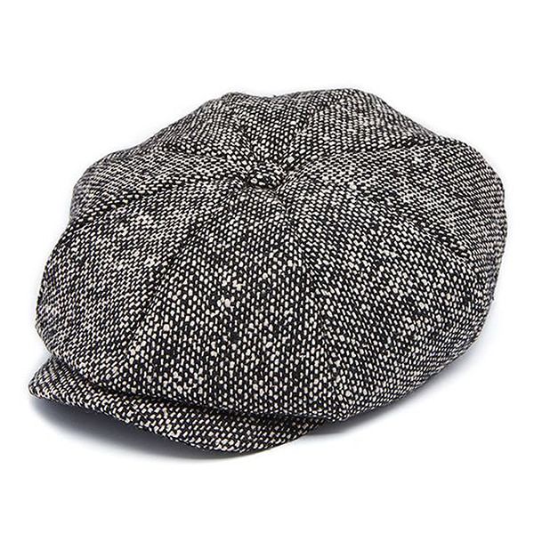 Millionairehats - wool tweed newsboy cap - black white mix