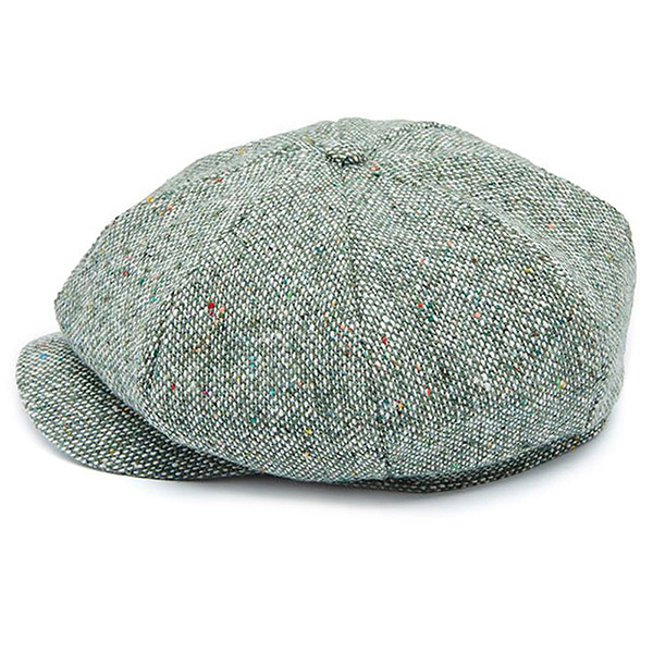 Millionairehats - wool tweed newsboy cap - green mix