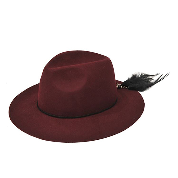 Millionairehats - 2way custom wool fedora [WINE]