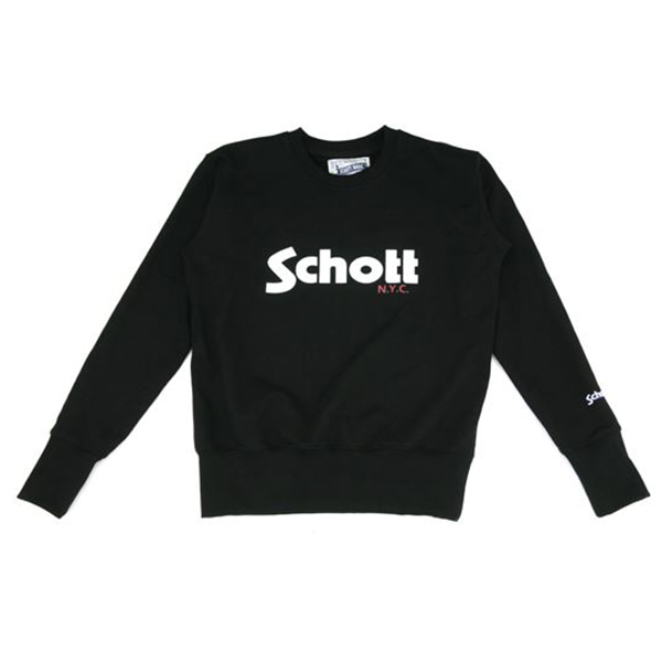 [SCHOTT N.Y.C.] SCHOTT NYC LOGO SWEAT SHIRT - BLACK