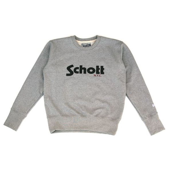[SCHOTT N.Y.C.] SCHOTT NYC LOGO SWEAT SHIRT - GREY