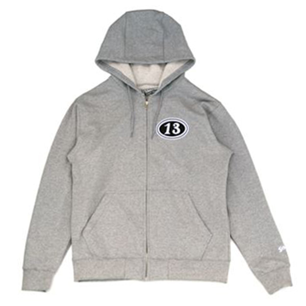 [SCHOTT N.Y.C.] 'WINGS OF WHEEL' FULL ZIP UP HOODED SWEAT - GREY