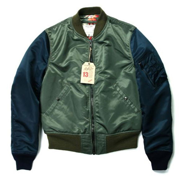 [쇼트뉴욕 항공점퍼] SCHOTT N.Y.C - Perfecto Two Tone Satin Ma-1 Jacket - Sage/Navy