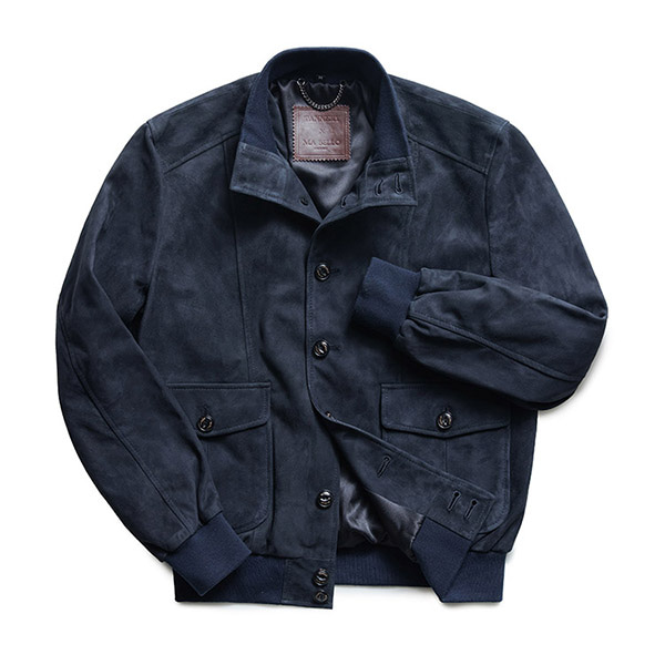 MABELLO -  Goat Suede A-1 S001 Jacket Navy