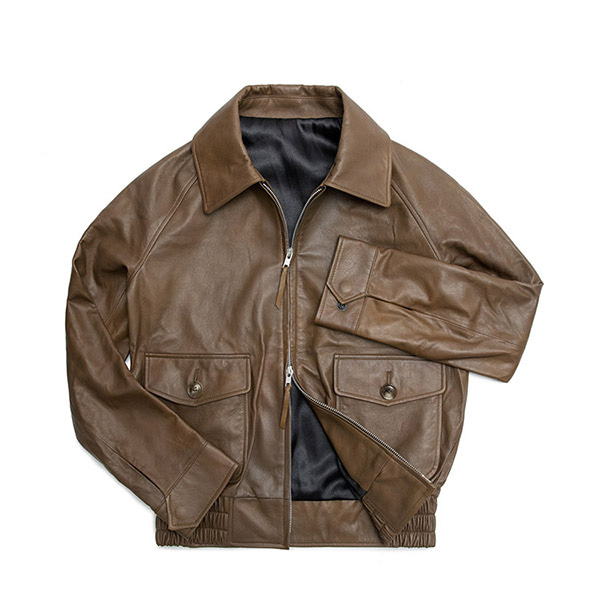 MABELLO -  Vegetable Lamb Skin A-2 Flight Jacket V001 Dark Beige