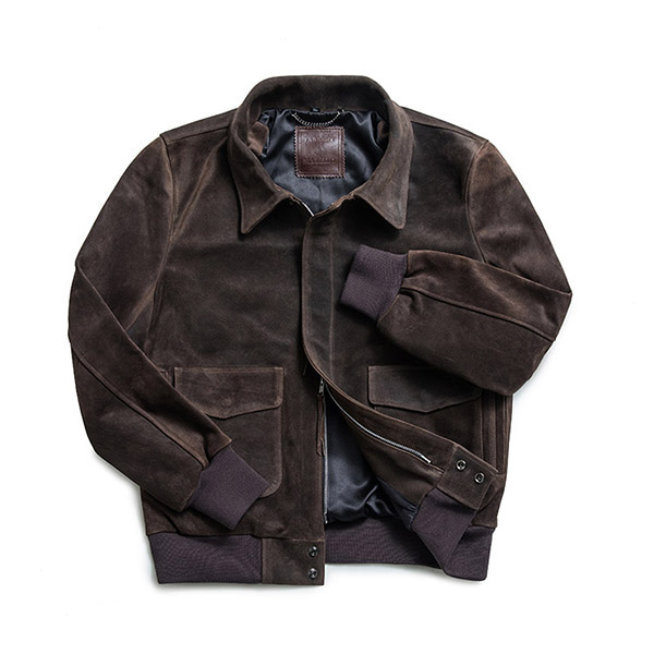 MABELLO - Calf Suede A-2 Waxed Jacket W001 Dark Brown
