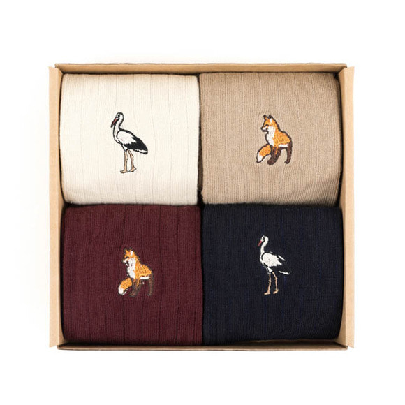 WILDBRICKS - FOX/CRANE SOCKS (ivory/beige/burgundy/navy)