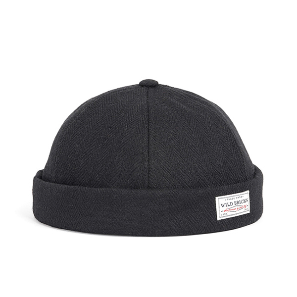 WILDBRICKS - WOOL BRIMLESS CAP (black)