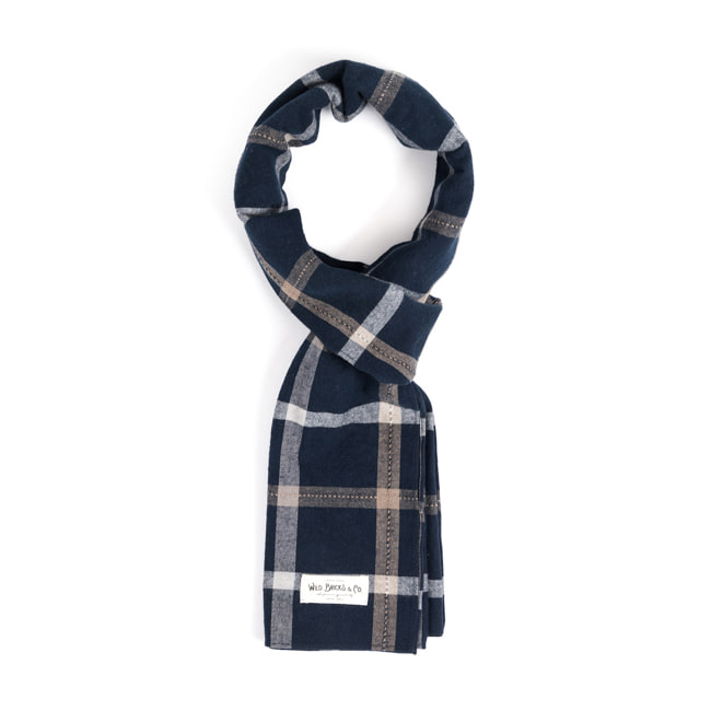 WILDBRICKS - PIN CHECK STOLE (navy)