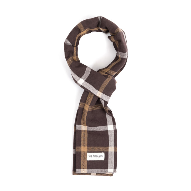 WILDBRICKS - PIN CHECK STOLE (brown)
