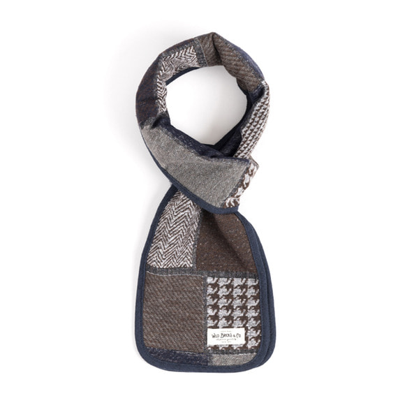 WILDBRICKS - WOOL CR CHECK STOLE (navy)