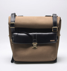 INDICE - COTTON LEATHER SIDE BAG / BEIGE