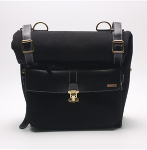 INDICE - COTTON LEATHER SIDE BAG / BLACK