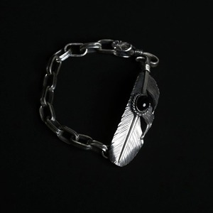 [헬도라도 팔찌] Helldorado - Feather with Onyx Chain Bracelet