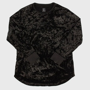 [모빈스알 티셔츠] MOVINS.R - AXIO DARK MOON VELVET TOP BLACK