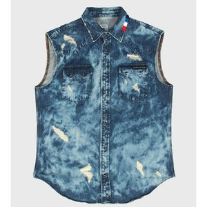 [모빈스알 베스트] MOVINS.R - GRUS OCTO JEWEL VEST WASHED BLUE
