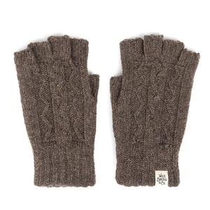 WILDBRICKS - CABLE FINGERLESS GLOVES (brown)