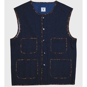 [모빈스알 데님베스트] MOVINS.R - AQUILA BINDING DENIM VEST BLUE
