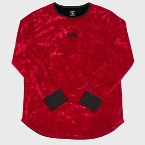 [모빈스알 티셔츠] MOVINS.R - AXIO DARK MOON VELVET TOP BURGUNDY