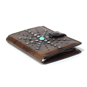 [쿄레프로젝트 카드지갑] KJøRE PROJECT - ICLUTCH WALLET ROSE STUDS BROWN