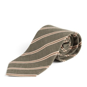 [와일드브릭스 넥타이] WILDBRICKS - BP STRIPE COTTON TIE (olive)