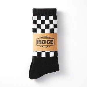 [인다이스 양말] - Terrycushion Checked Socks(BLACK)