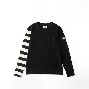 [인다이스 맨투맨] INDICE - Heavy Cotton Long sleeve TEE (BLACK/Stripe_W_B)