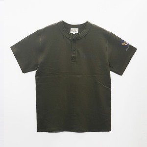 [그롭스 반팔 티셔츠]  GROFS - U.S AIR FORCE HENLEY NECK T-SHIRT (KHAKI)