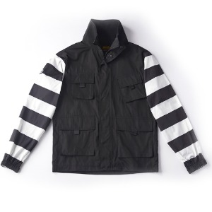 [인다이스 자켓] INDICE - Prisoner waterproof windbreaker (Black/Stripe)