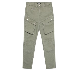 [디한웍스 라이더팬츠] DEEHONWORKS - QUEUE (Leather panel Cut cargo pants) Army Green