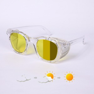 [에딜롯 윙글라스 방풍고글(변색렌즈)] EDIROT - 001 WING GLASSES CRYSTAL CLEAR/YELLOW-KHAKI BROWN