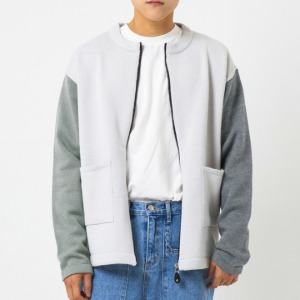 [엑스톤즈 배색 집업 가디건] XTONZ - SPLIT COLOURWAY ZIP UP CARDIGAN (GRAY)