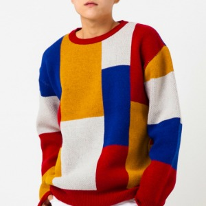 [엑스톤즈 니트] XTONZ - REFLO PATCHWORK WOOL KNIT (RED)
