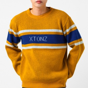 [엑스톤즈 니트] XTONZ - RAY LOGO WOOL KNIT (MUSTARD)