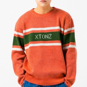 [엑스톤즈 니트] XTONZ - RAY LOGO WOOL KNIT (ORANGE)