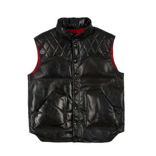 [인다이스 레더 패딩조끼] INDICE - Horse Hide DuckDown Leather padding Vest (DUCKDOWN/BLACK)
