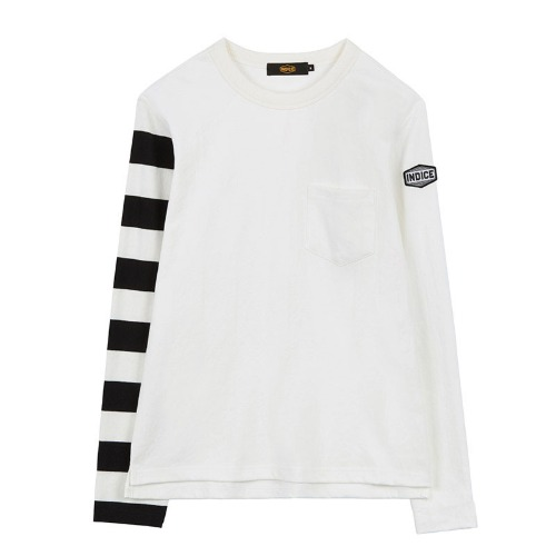 [인다이스 슬리브] INDICE - Heavy Cotton Sleeve TEE (WHITE/Stripe_W_B)