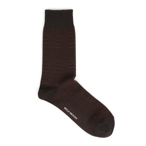[와일드브릭스 양말] WILDBRICKS - GLEN CHECK DRESS SOCKS (brown)