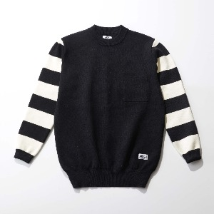 [인다이스 맨투맨] INDICE - Heavy Cotton Riding Sweater (Black/Stripe)