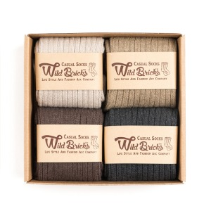 [와일드브릭스 양말]COTTON RIB SOCKS SET (ivory/beige/brown/charcoal)