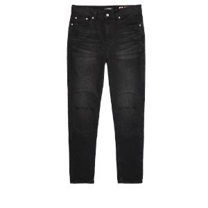 [디한웍스 라이더팬츠] DEEHONWORKS - STACK2 (Leather panel Destroyed denim pants) Black