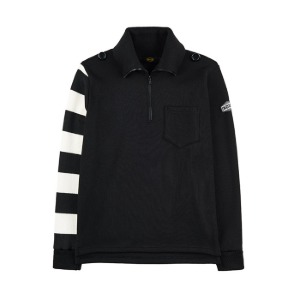 [인다이스 니트] INDICE - Turtleneck Zipper Round Knit (BLACK/Stripe_W_B)